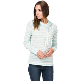 super.natural Vacation Funnel Printed Sudadera Capucha Mujer, fresh white/wild mint striped